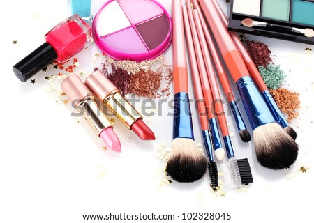 make up brushes in holder and