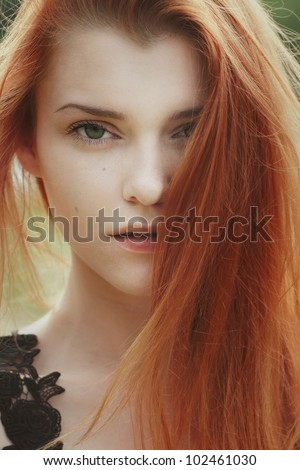 beautiful redhead girl face