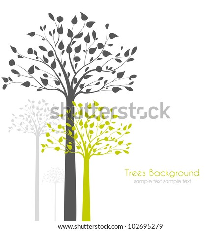 trees with leaves on white