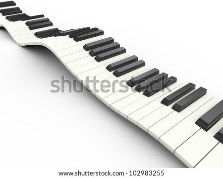 3d render of wavy piano musical