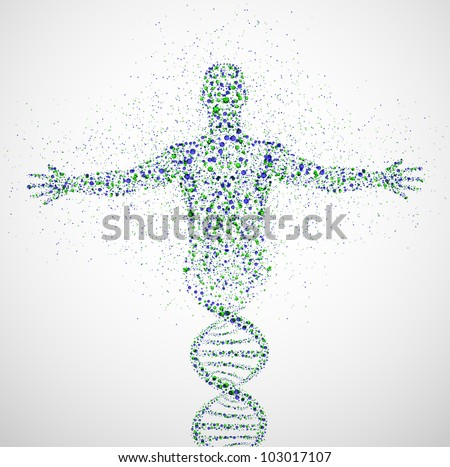 abstract model of man of dna