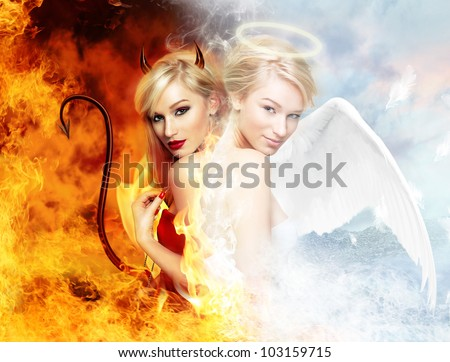 young blond woman as half devil