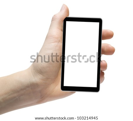 cellphone tablet in hand for