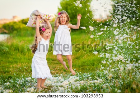 happy childhood  little girls