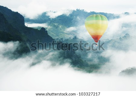 balloon float in the mist