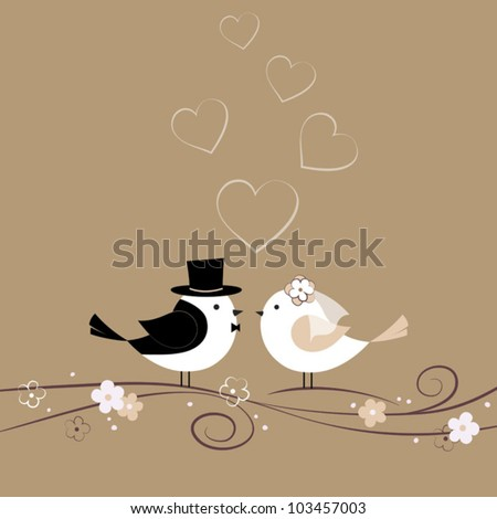 wedding card with birds