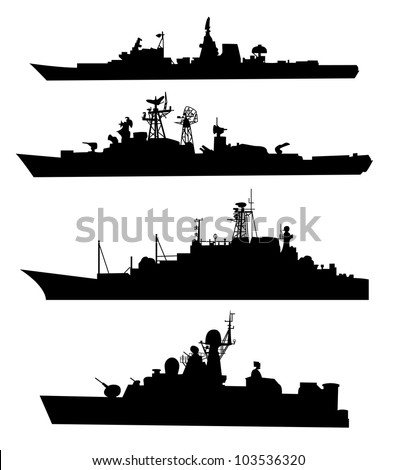 the black silhouettes of a ship