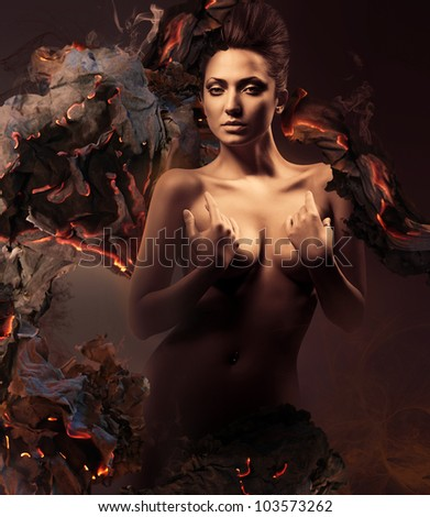 sexy nude woman in dark and