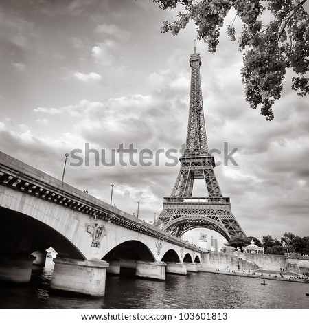 eiffel tower square monochrome