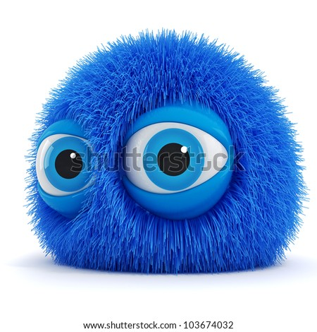 3d funny fluffy creature with