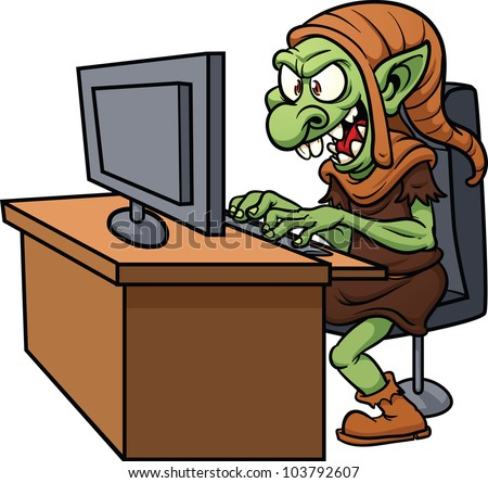 internet troll using a computer