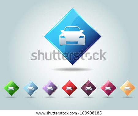 diamond car icon button vector