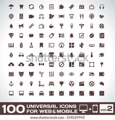 100 universal icons for web and