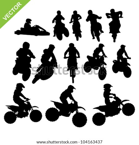 set of motorcross silhouettes