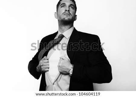 handsome businessman pulling