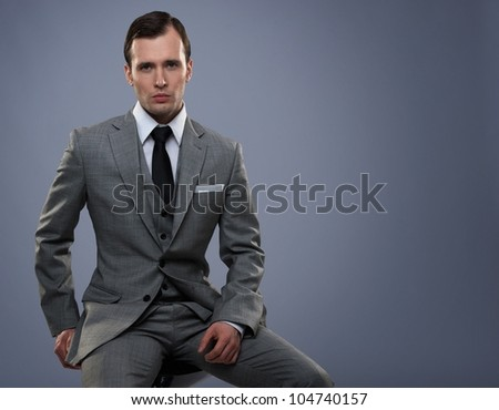 businessman isolated on grey