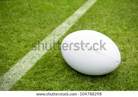 rugby ball near try line on