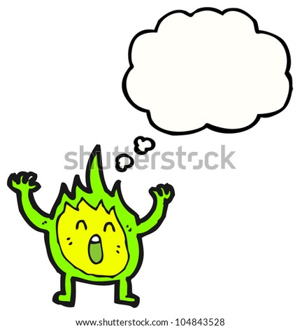 cartoon green fire character