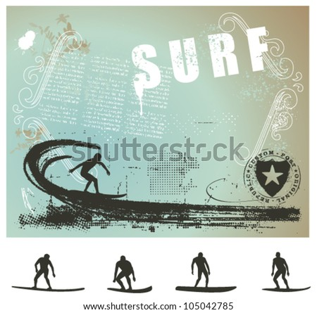 surf grunge background with big