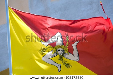 flag of sicily with triskelion