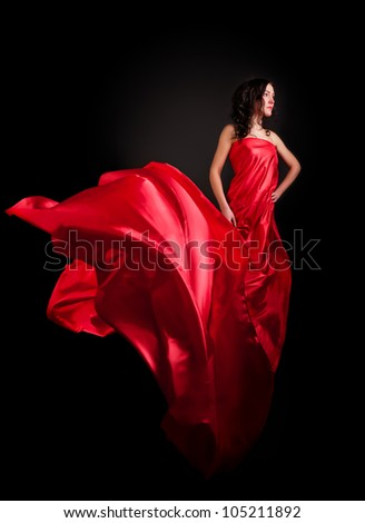 beautiful young woman in a red