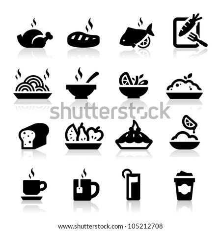food and drink icons set...