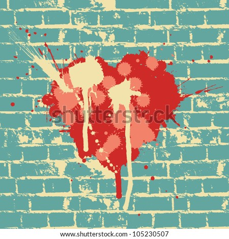 heart symbol on brick wall