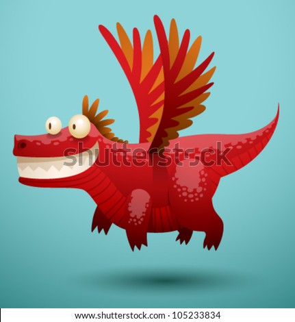 funny flying dragon 2  vector