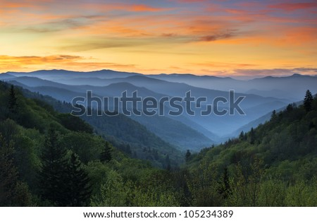 sunrise landscape great smoky