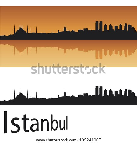 istanbul skyline in orange