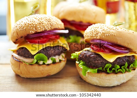classic burgers with beer on