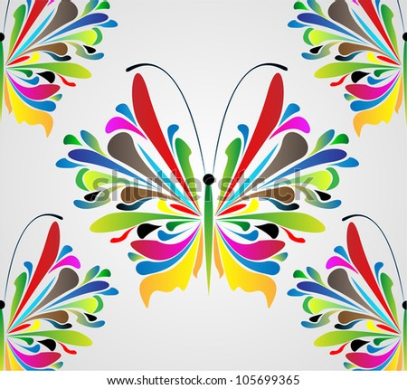 abstract floral butterfly vector