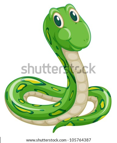 illustration of green snake on
