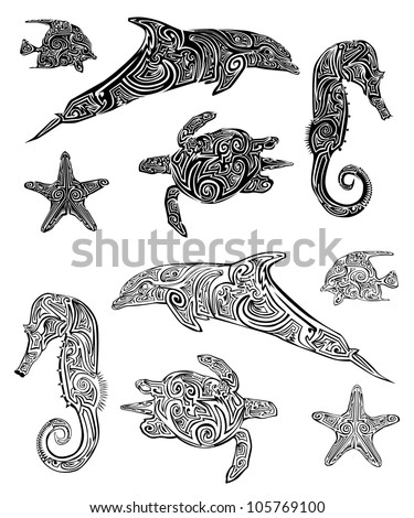 Download Animal Pictures on Vector Download    Sea Animal Tribal Tattoo Set      Free Vector