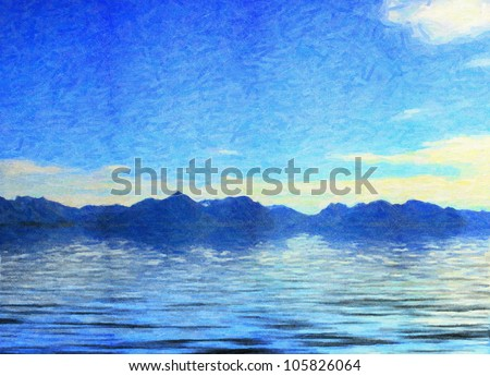 the blue sea with mountains