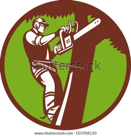 illustration of a tree surgeon