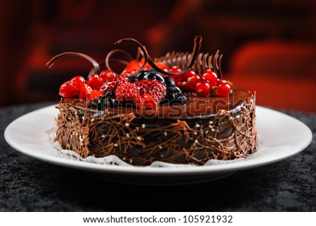 luscious chocolate cake with