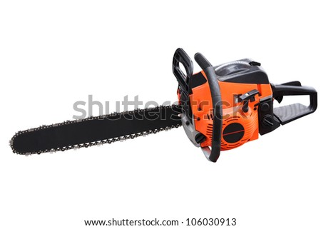 chain saw separately on a white