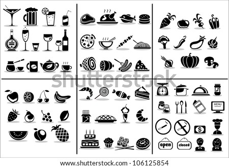 77 food and drink icons set for ...