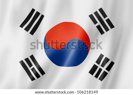 south korea flag  three