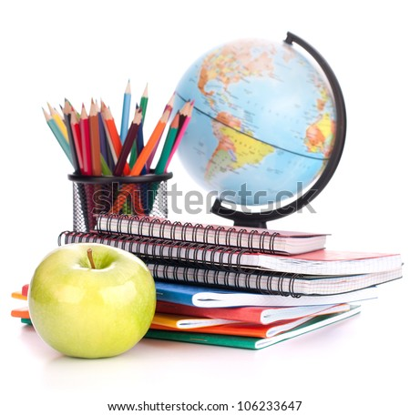 globe  notebook stack and