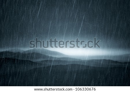 dark landscape with rain