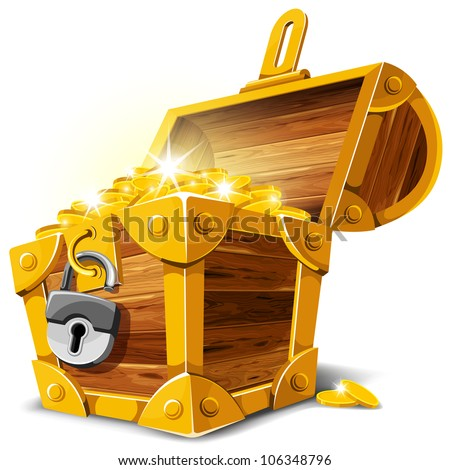 opened antique treasure chest