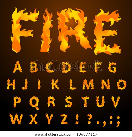 vector fire flame font caps