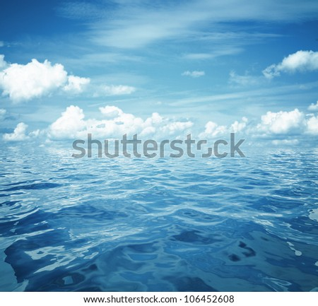 cloudy blue sky and sea surface