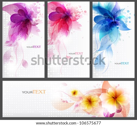 floral elements background set