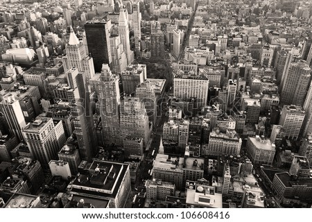 aerial view of new york city in