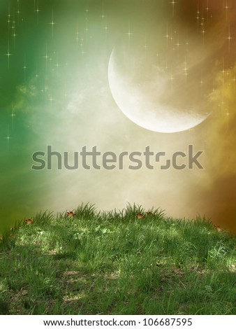 fantasy landscape with grass