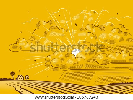 clouds over fields vector