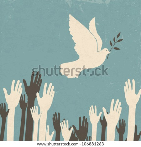 group of hands and dove of
